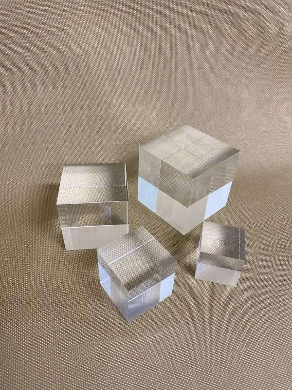 Acrylic cubes and blocks.